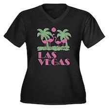 Vintage Las Vegas Women's Plus Size V-Neck Dark T-
