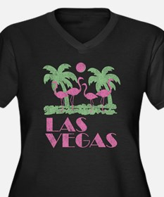 Vintage Las Vegas Women's Plus Size V-Neck Dark T-