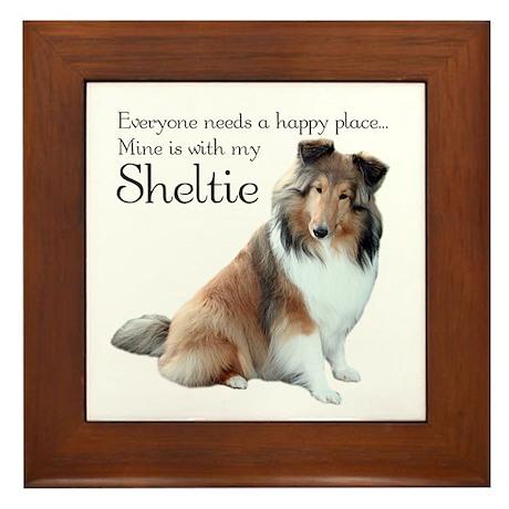 Happy Place Sheltie Framed Tile