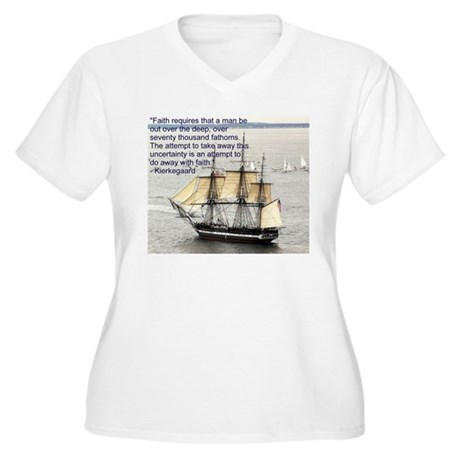Kierkegaard on Faith Women's Plus Size V-Neck T-Sh