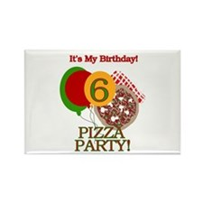 6th Pizza Party Birthday Rectangle Magnet