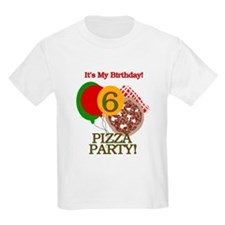 6th Pizza Party Birthday Kids T-Shirt