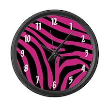 Pink Zebra Print Clock Large