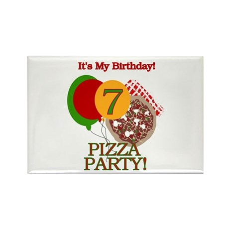 7th Pizza Party Birthday Rectangle Magnet (10 pack