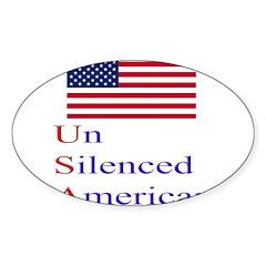Un Silenced American Oval Sticker (10 pk)