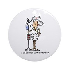 Funny Nurse Four Ornament (Round)