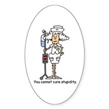 Funny Nurse Four Oval Decal