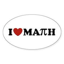 I Love Math Pi Oval Bumper Stickers