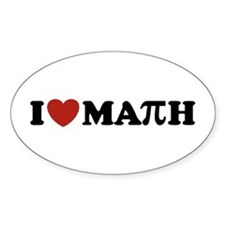 I Love Math Pi Oval Decal