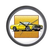 Yellow w/Black Stripes El Camino Wall Clock