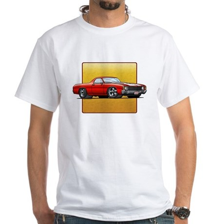 Red w/White Stripes El Camino White T-Shirt