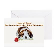 Sleep with Saint Bernards Greeting Cards (Package