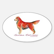 Golden Retriever in color Oval Decal