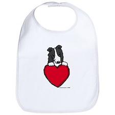 Black Border Collie Valentine Bib