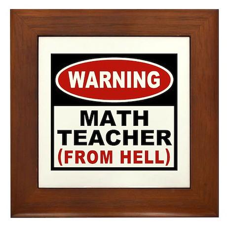 Warning Math Teacher Framed Tile