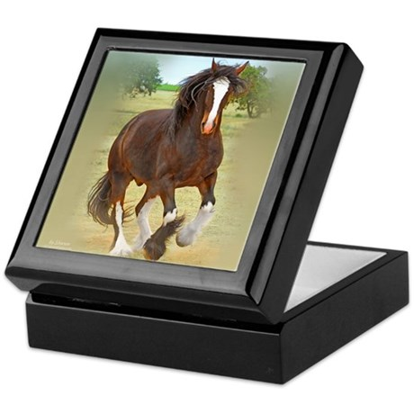 Galloping Shire Draft Horse Keepsake Box