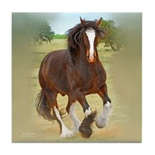 Galloping Shire Draft Horse Tile Coaster