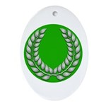 Green with Silver Laurel Oval Ornament