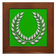 Green with Silver Laurel Framed Tile