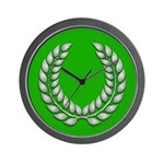 Green with Silver Laurel Wall Clock