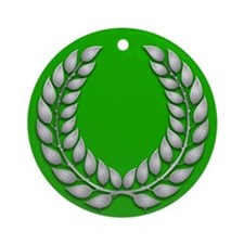 Green with Silver Laurel Ornament (Round)