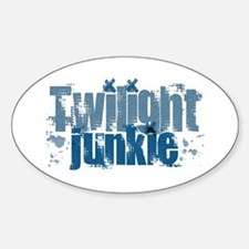 Twilight Junkie - blue Oval Decal