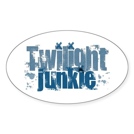 Twilight Junkie - blue Oval Sticker