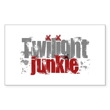 Twilight Junkie - red Rectangle Sticker