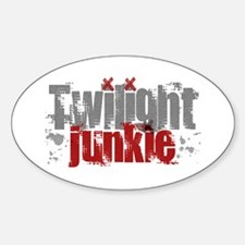 Twilight Junkie - red Oval Decal