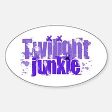 Twilight Junkie - purple Oval Decal