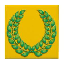 Gold with Green Laurel Tile Coaster
