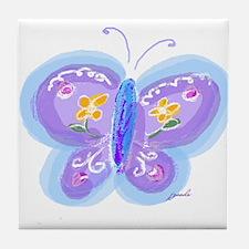 Little Blue Butterfly Tile Coaster