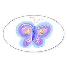 Little Blue Butterfly Oval Decal