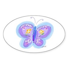 Little Blue Butterfly Oval Decal