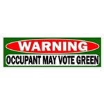 Occupant May Vote Green Bumper Sticker