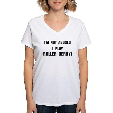 Not Abused Roller Derby Women's V-Neck T-Shirt