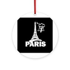 """""""France/Paris/Tower/Humor"""" Ornament (Rou"""