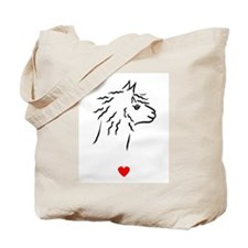 Alpaca Heart Tote Bag