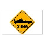 Race Car X-ing Rectangle Sticker 50 pk)