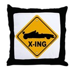 Race Car X-ing Throw Pillow