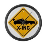 Race Car X-ing Large Wall Clock