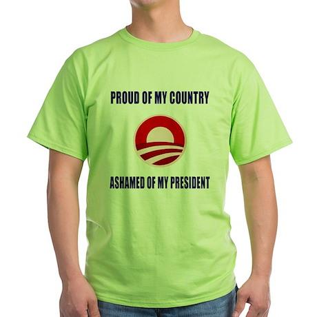 Ashamed Of Obama Green T-Shirt