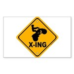 ATV X-ing Rectangle Sticker 10 pk)