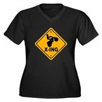 ATV X-ing Women's Plus Size V-Neck Dark T-Shirt