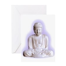 white buddha Greeting Cards