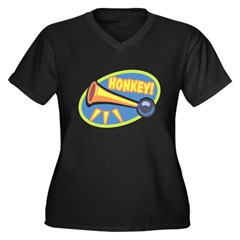 HONKEY! Women's Plus Size V-Neck Dark T-Shirt