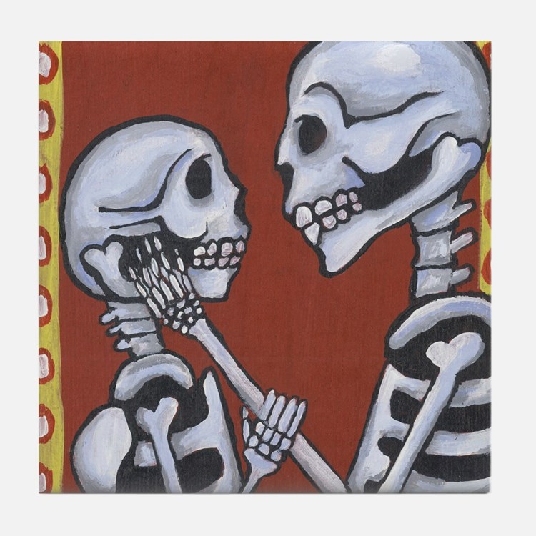 Skeletons in Love Tile Coaster