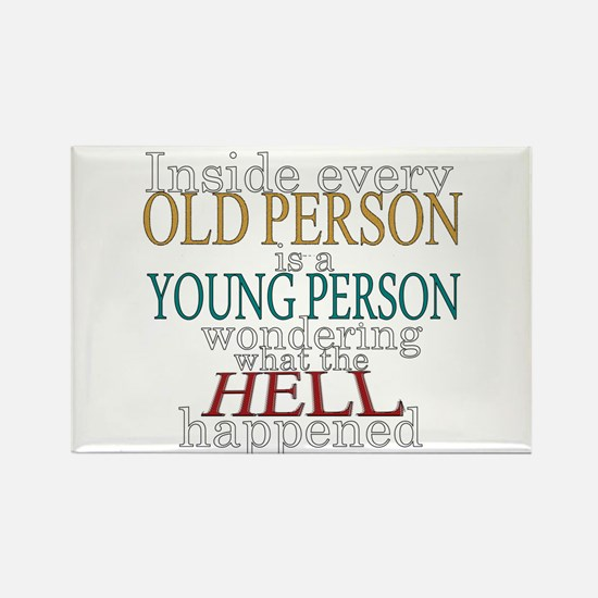 Inside any old person is a yo Rectangle Magnet
