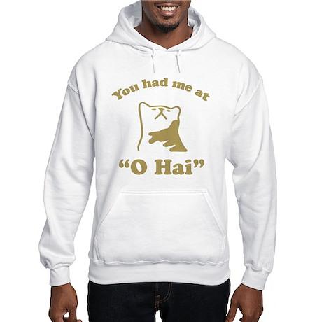 O Hai Lolcats Humor Hooded Sweatshirt