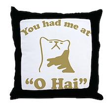 O Hai Lolcats Humor Throw Pillow
